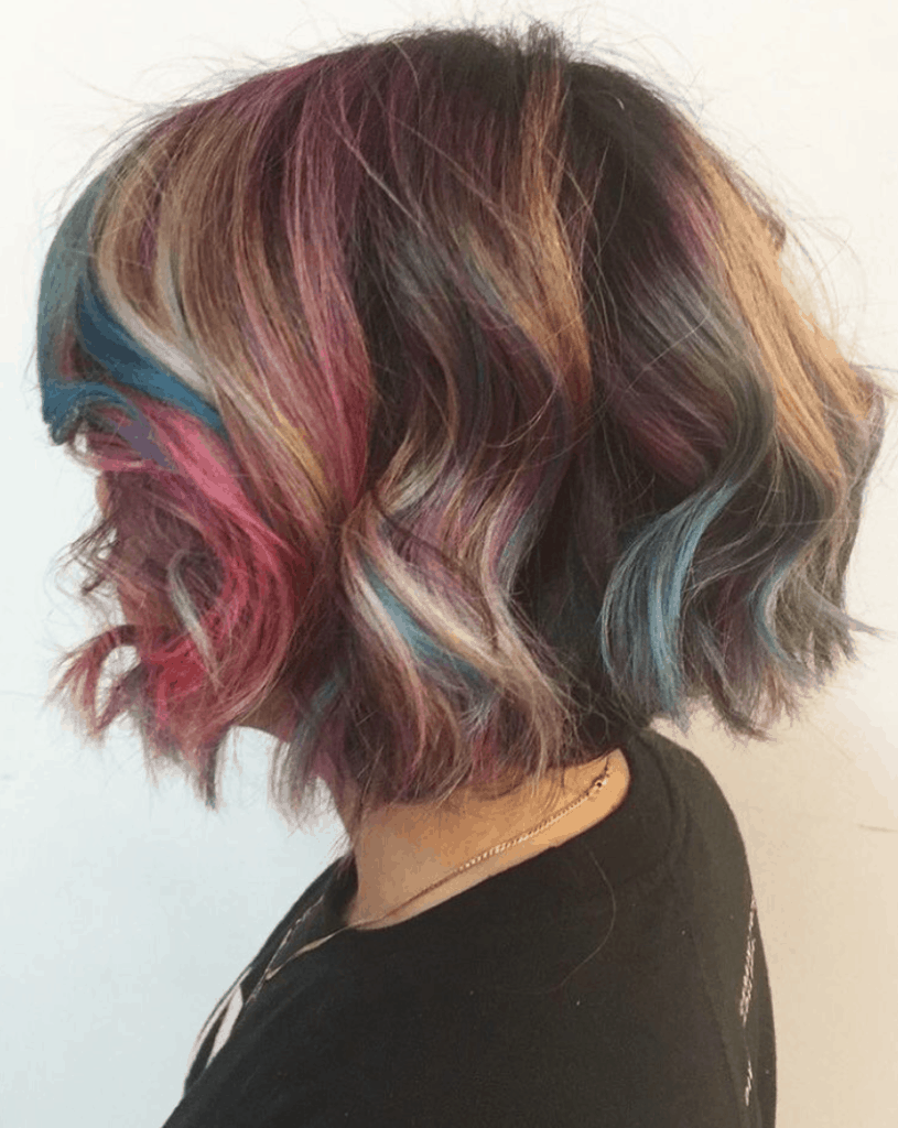 Colorful layered hairstyle